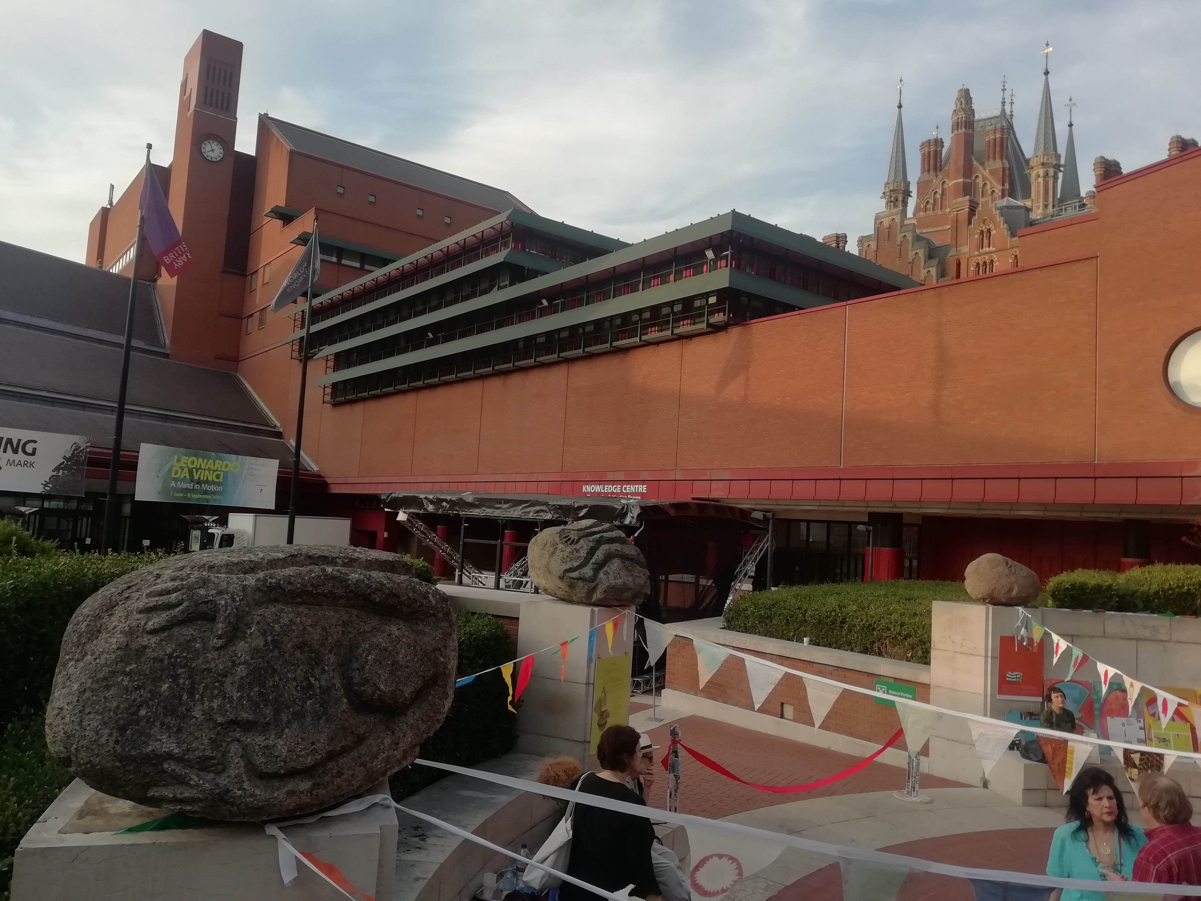 British Library outside with bunting.