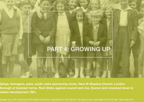 An old photo of children and the words Part 3: Growing up
