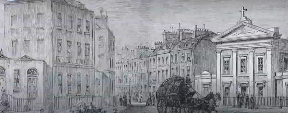 Old 1815 drawing of a London sqaure.