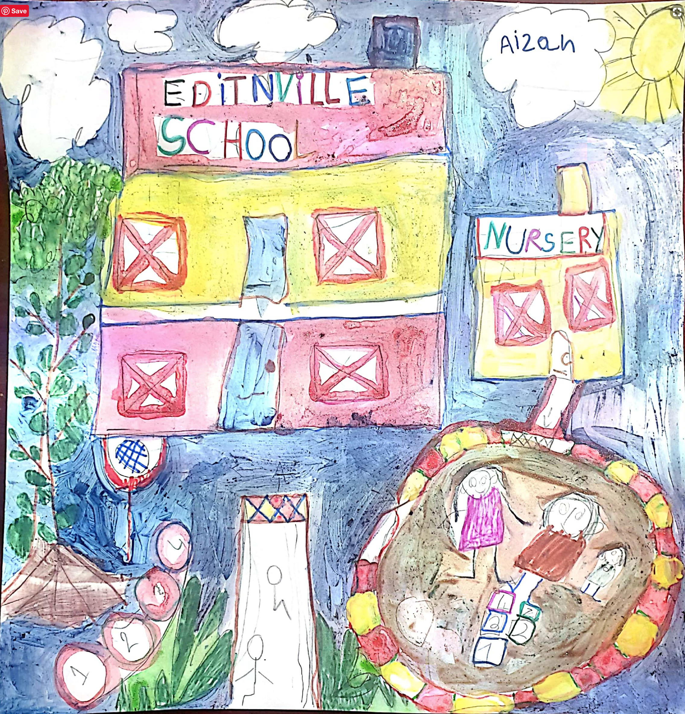 Child's drawing of a school.