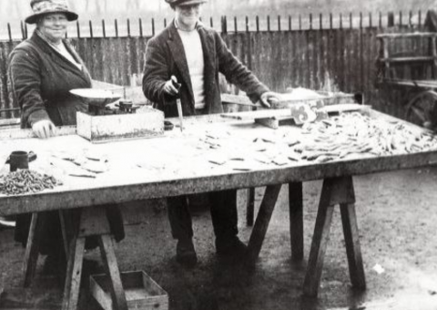 old photo of market stall.