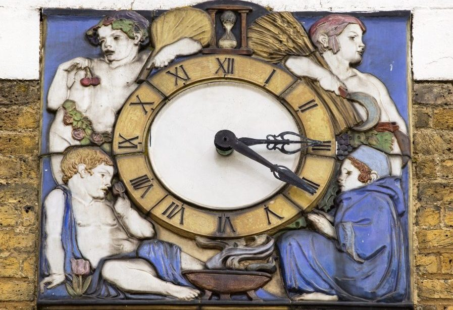 A Clock with figures surrounding it.