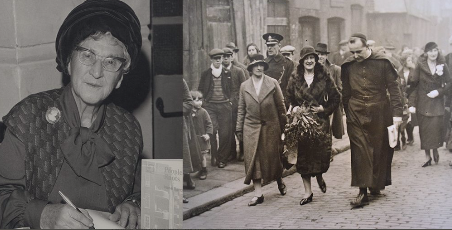 An older woman in the 1950s in hat and a group of women in the 1930s