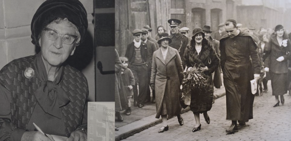 Image of lady in hat alongside imege of priest walking with 2 ladies in 1920s clothing in street.